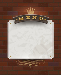 Menu wooden signboard and paper banner on brick wall