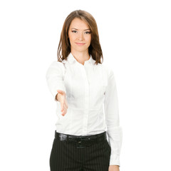 Businesswoman giving hand for handshake