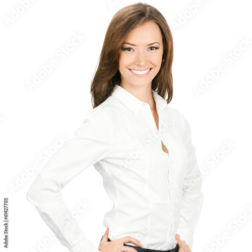 Portrait of happy smiling young cheerful business woman