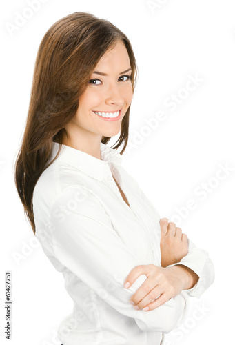 Portrait of happy smiling young cheerful businesswoman