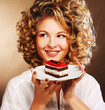 young woman with a cake