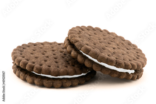 Chocolate cream cookies isolated on white