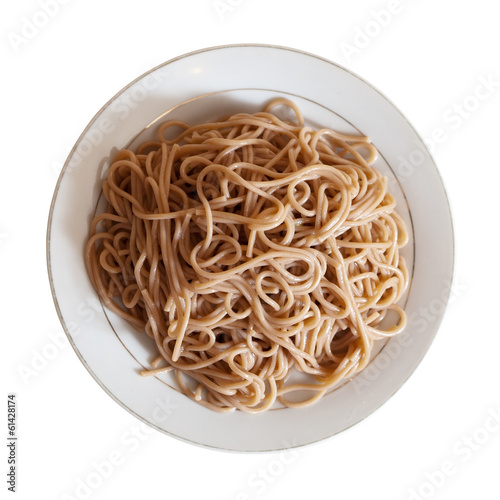 Top view of spaghetti pasta in plate