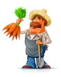 Gardener with carrot and shovel. Eps10 vector illustration.