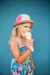 Young girl eating ice cream