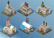 Isometric Set of Energy Industries Buildings