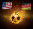 Hot soccer ball in fires flame, friendly game USA and Germany