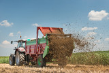 Manure spreader working