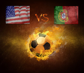 Hot soccer ball in fires flame, friendly game USA and Portugal