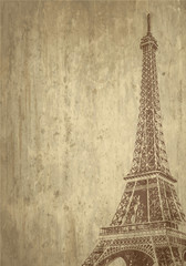 muro vintage con tour eiffel