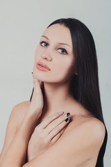Portrait of young beautiful sexy brunette woman long healthy hai