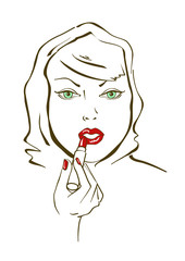 Illustration with face of woman applying lipstick