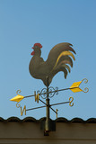 Weather vane against a blue sky