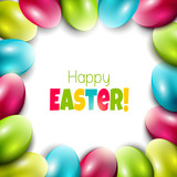 Colorful Easter background with eggs and place for text