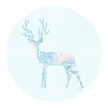 Vector cerf aux cornes - illustration abstraite