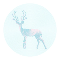 Vector deer with horns - abstract illustration