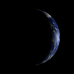 The crescent Earth from space.