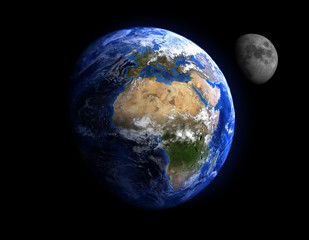 The Earth and the Moon.