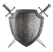 aged metal shield with two crossed swords isolated on white