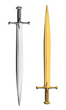 Gold and silver metal swords isolated on white