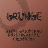 Abstract Grunge Font and Numbers, Eps 10 Vector