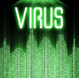 Virus with cyber binary code background