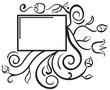 Black and white floral frame. Design elements.