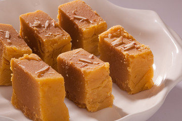 Mysore Pak- Sweet dish made from lentil flour.