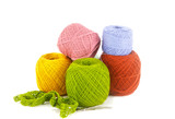 Colorful yarn on white background