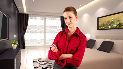 young caucasian businesswoman in a 3d rendered hotel