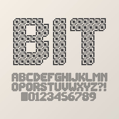 Abstract Square Bit Font and Numbers, Eps 10 Vector