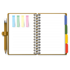 Ring Organizer Notebook With Pencil And Post it Paper