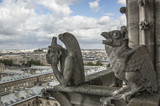 stone guards chimere of Notre-Dame overlooking Paris