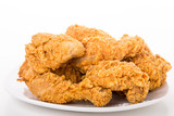 Fried Chicken on White Plate and Background