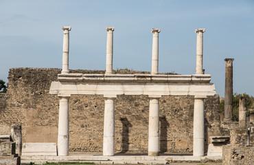 White Stone Columns in Pompeii