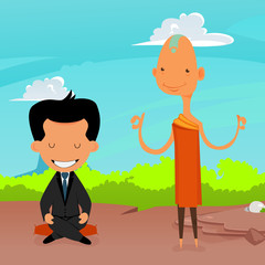 Buddhist Monk with office man
