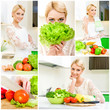 Collage of young women cooking healthy food at home