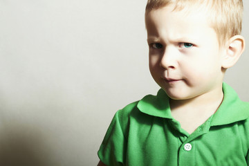 Child. Little Boy with Blue Eyes. Funny Kid.Children emotion