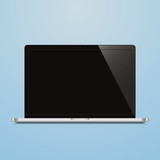 laptop open black screen blue background
