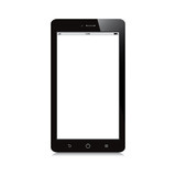 smartphone with white blank screen on white background