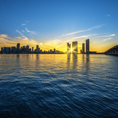 Miami Florida, sunset  with business and residential buildings