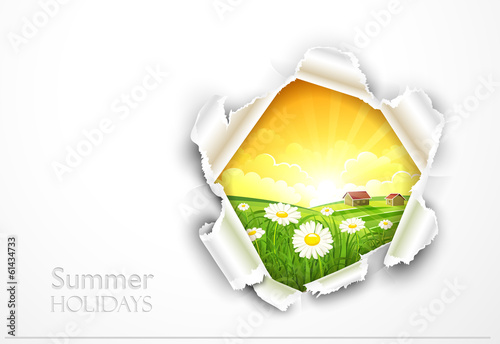 Natural background with flowers and torn paper. Vector