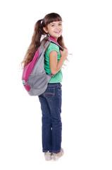 schoolgirl looking back over her shoulder