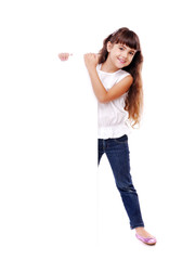 girl holding on the blank board