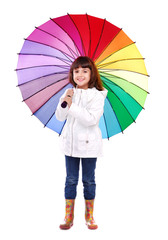 Full length portrait of a girl holding the big colorful umbrella