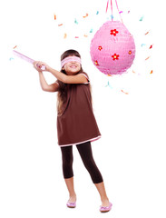 Birthday girl with pinata over the white background