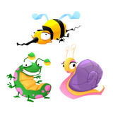 Two funny insects and one snail.