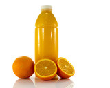 bottle with fresh orange juice