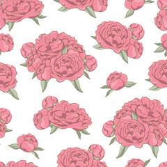 Elegance seamless pattern of  pink peonies flowers