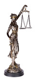 Themis, mythological Greek goddess, isolated over white backgrou